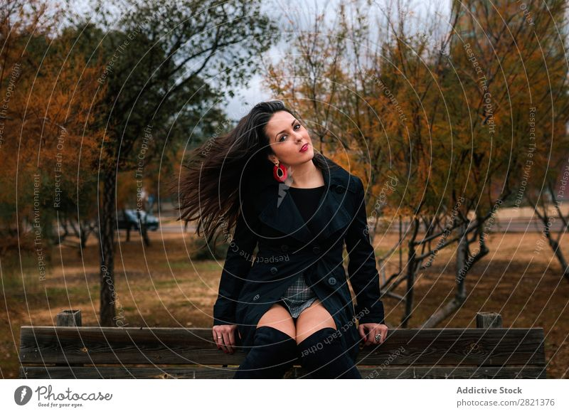 Stylish woman on park bench Woman pretty Youth (Young adults) Sit Park Bench To enjoy Attractive Beautiful Brunette Human being Beauty Photography Adults Style