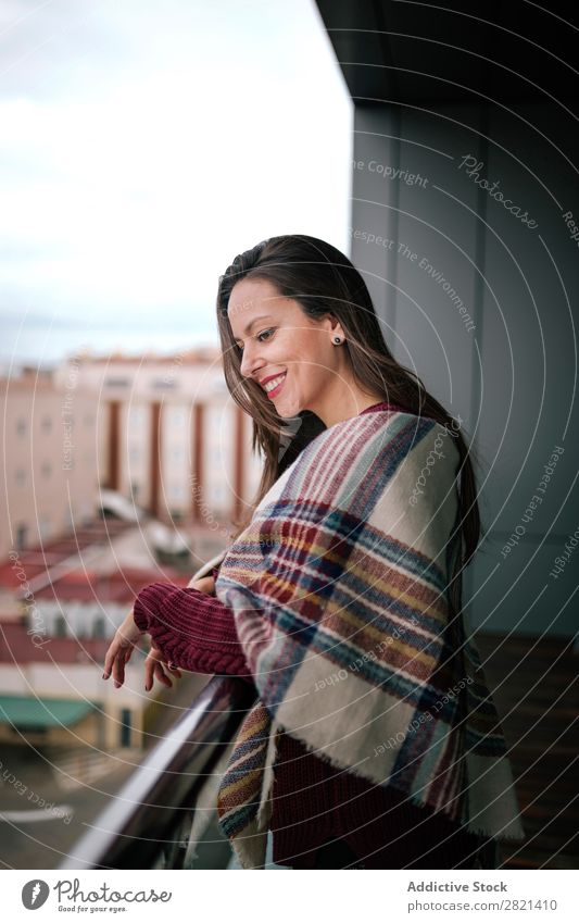 Cheerful woman standing at handrail Woman Youth (Young adults) Beautiful Smiling Stand Balcony Building