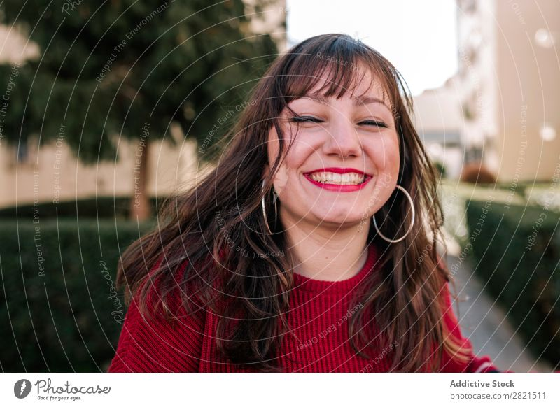 portrait of young caucasian woman Woman Youth (Young adults) Brunette Caucasian pretty Smiling City Face Looking Attractive Beautiful Portrait photograph
