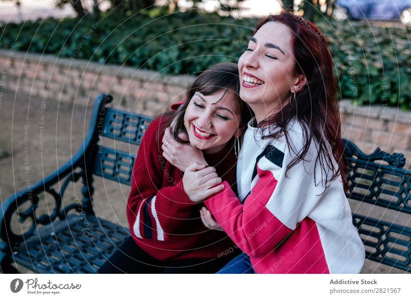 teenage girls in a park Girl Woman Youth (Young adults) Friendship Happiness confidences Self-confident Attachment Caucasian Smiling Laughter Embrace Joy