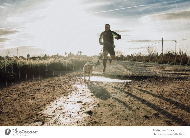 Sporty man running with his dog at sunset Healthy Pet Man Human being Runner Fitness Dog Lifestyle Sports Leisure and hobbies Youth (Young adults) Sportswear