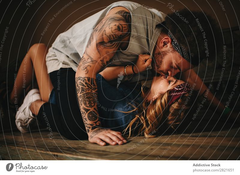 couple kissing on wooden bed Couple Kissing Lie (Untruth) Bed Wood Old Sex Eroticism Passion Embrace Band Style Ancient Tattoo Portrait photograph Girl