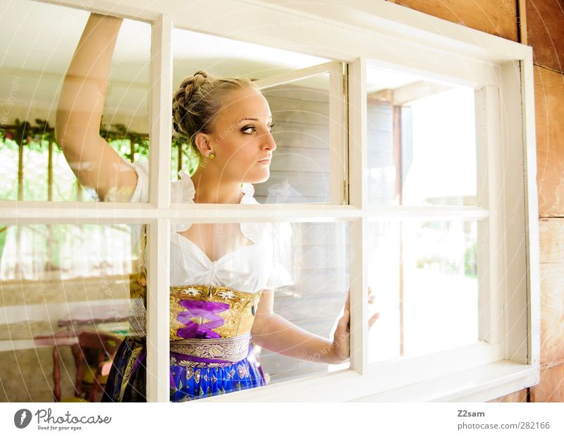Human being Youth (Young adults) Summer Calm House (Residential Structure) Adults Window Young woman Style Fashion Dream 18 - 30 years Blonde Stand Lifestyle