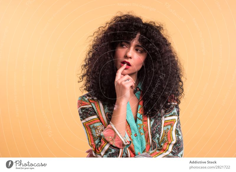 Curly woman in studio Woman pretty Portrait photograph Youth (Young adults) Hair Studio shot Brunette Beautiful Adults Posture Beauty Photography Attractive