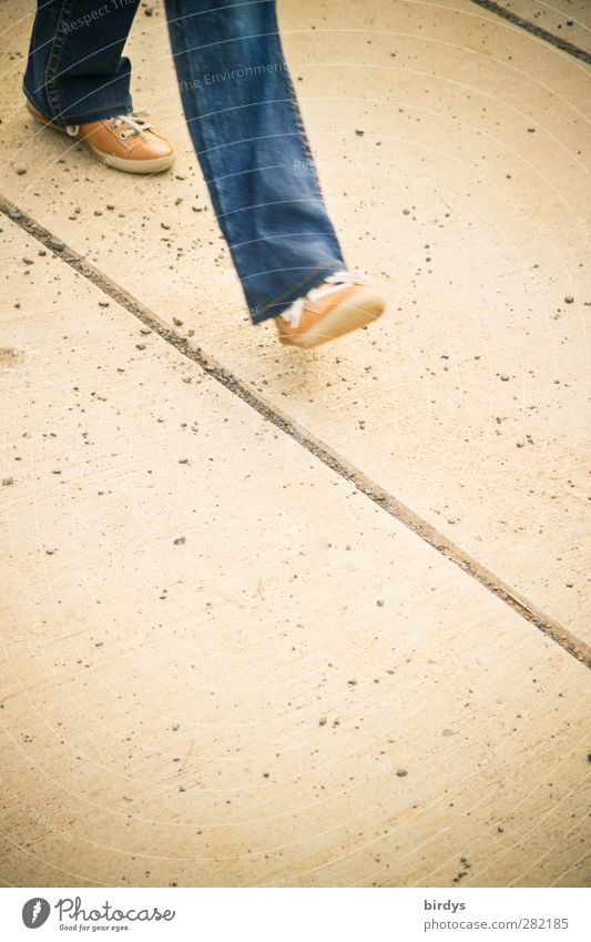 mainstream Legs 1 Human being Lanes & trails Footpath Jeans Footwear Going Authentic Original Blue Yellow Prompt Movement Target Direction Line Single-minded