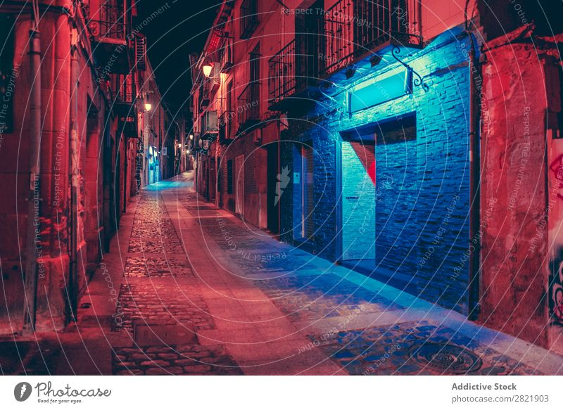 Car on dark street at night Street Night Dark Town riding Perspective Light City Building Architecture Alley Asphalt Vacation & Travel Evening way Twilight