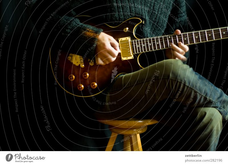 Play a mean guitar Joy Playing Music Human being Adults Body Hand Fingers 1 Musician Guitar Original Endurance Blues Electric guitar Guitarist Ibanez