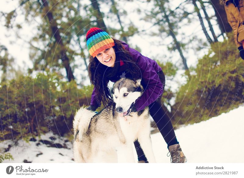 Laughing woman playing with dog in snows Woman Dog Boxing Snow having fun Together Pet Mammal White Nature Cheerful Joy Contentment struggle Bite Husky