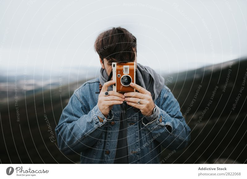 Photographer aiming with vintage camera Camera Nature Vintage Brown Man Photography Lens Lifestyle Vacation & Travel Aim focusing Illustration Professional