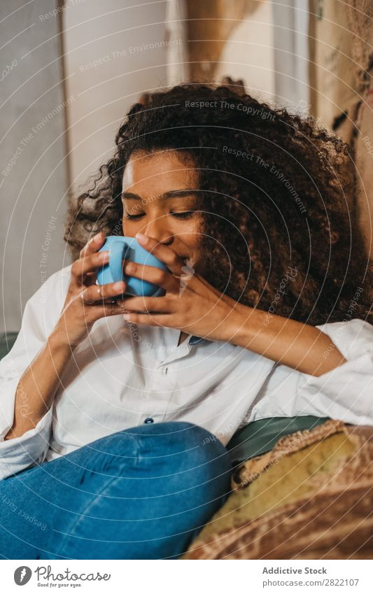 Woman drinking cup of coffee Beautiful Ethnic Black Youth (Young adults) African Stir Coffee Cup latte Brunette Attractive Human being Beauty Photography Adults