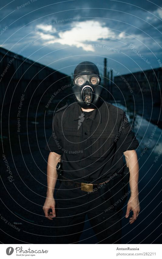 Apocalypse Human being Sky Youth (Young adults) Clouds Young man Adults Environment 18 - 30 years Masculine Wind Stand Bad weather Storm clouds Military Respirator mask Man