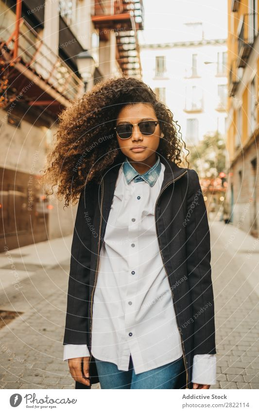 Stylish woman on street Woman Beautiful Ethnic Black Curly African Youth (Young adults) Stand