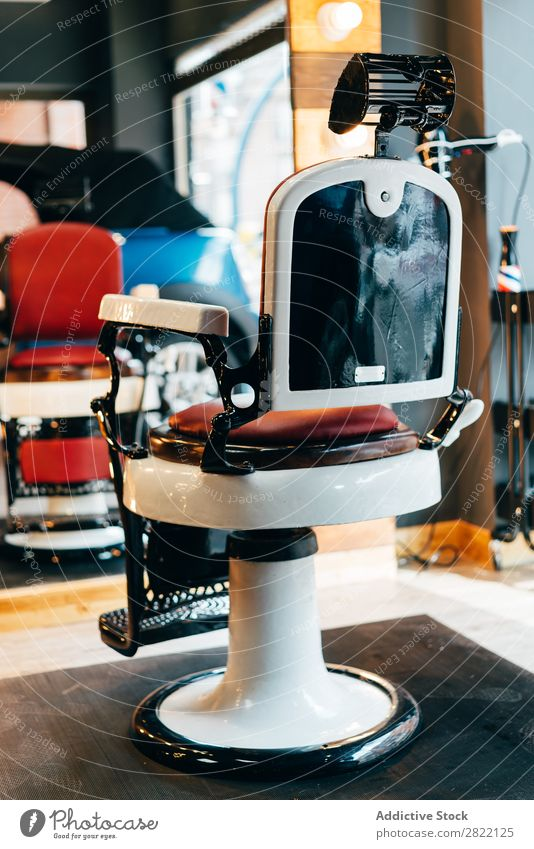 Empty chair in barbershop Chair Interior design Barber shop salon Equipment Beauty Photography Design Style Fashion Mirror Modern Studio shot Shopping Deserted