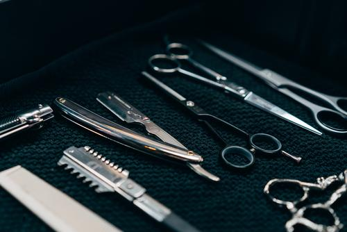 Set of scissors and combs Barber shop Equipment Exceptional Hair salon Style Professional Beauty Photography Fashion Scissors Comb Haircut Hair and hairstyles
