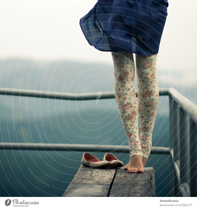 Wuthering heights Human being Woman Child Sky Nature Youth (Young adults) Blue Beautiful Forest Adults Feminine Young woman Emotions Style Legs Feet