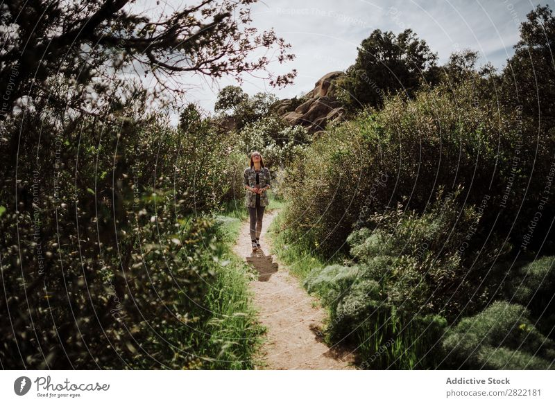 Attractive woman on path in nature Woman Style Nature Green Lanes & trails Stand Beautiful Youth (Young adults) Fashion Hipster pretty Cool (slang)