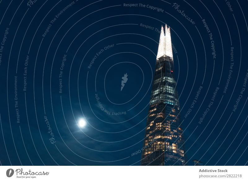 Illuminated contemporary district in night High-rise Night Moon London Architecture England Business Town Skyline International Downtown Modern Exterior