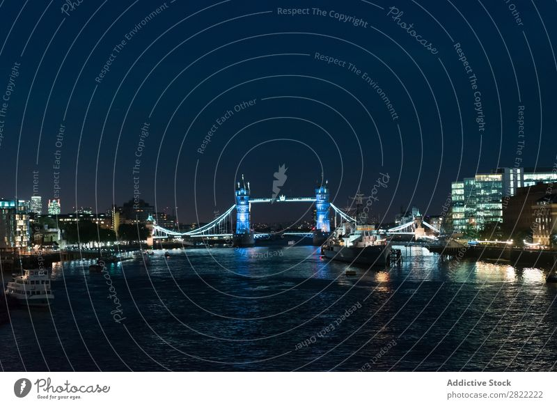 Amazing cityscape in night lights Skyline Embankment Tourism Town London England Vacation & Travel Panorama (Format) Twilight Landscape River bank Reflection