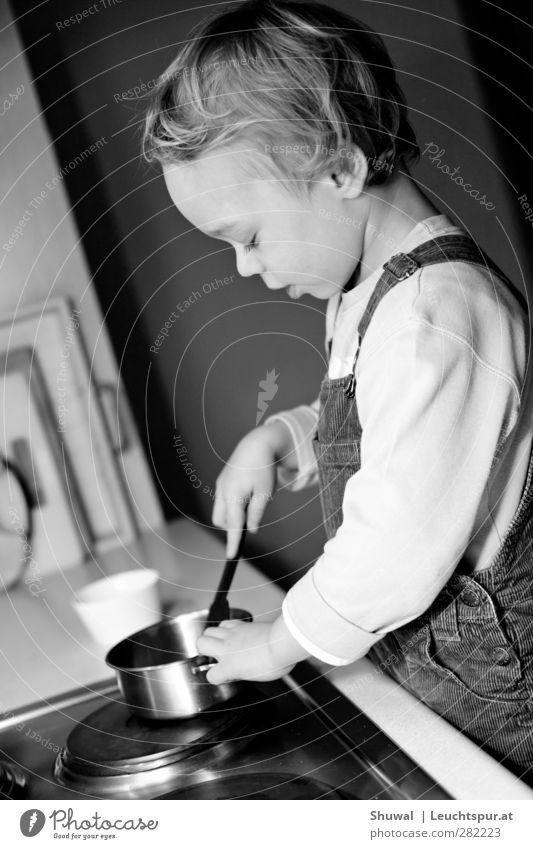 cooking photo Child Boy (child) Infancy 1 Human being 3 - 8 years pedagogy Cooking Playing Parenting Study Black & white photo Interior shot
