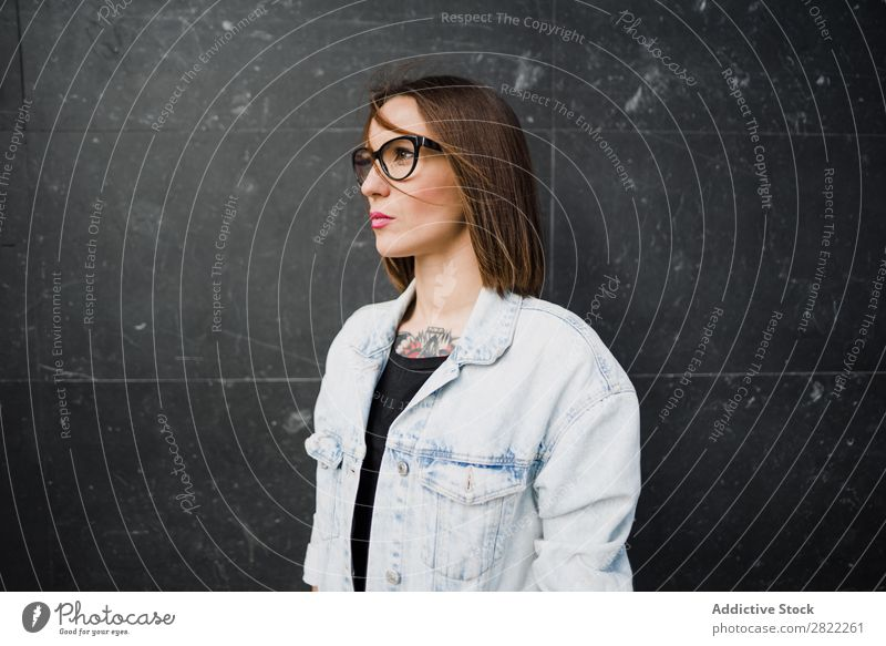 Casual woman in glasses Woman Style Street Beautiful Person wearing glasses Youth (Young adults) Looking away Fashion Hipster pretty Cool (slang)