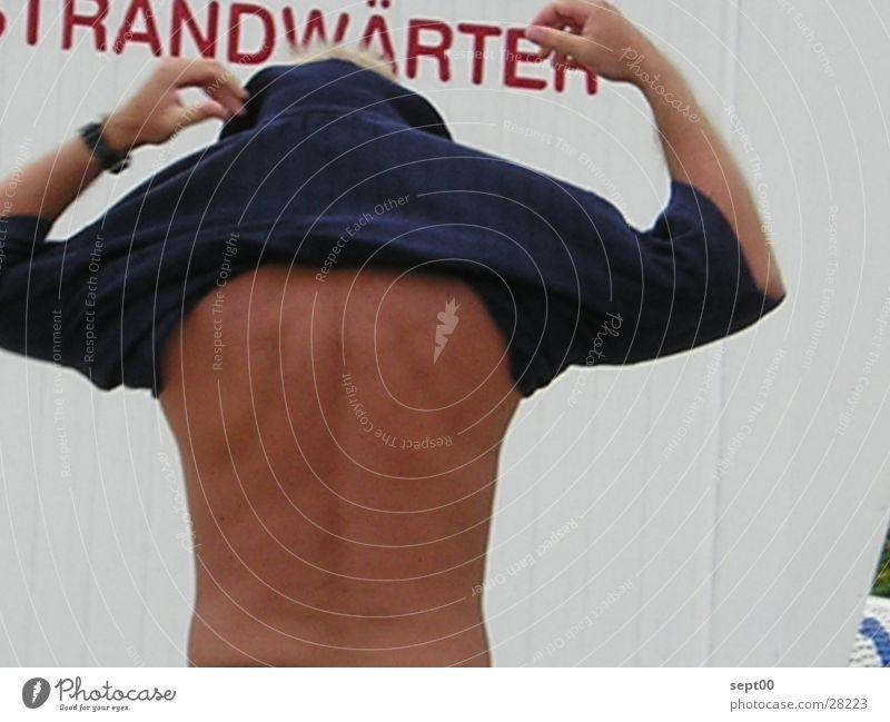 beach attendant Beach Sweater T-shirt Extract Man Water North Sea locker rooms