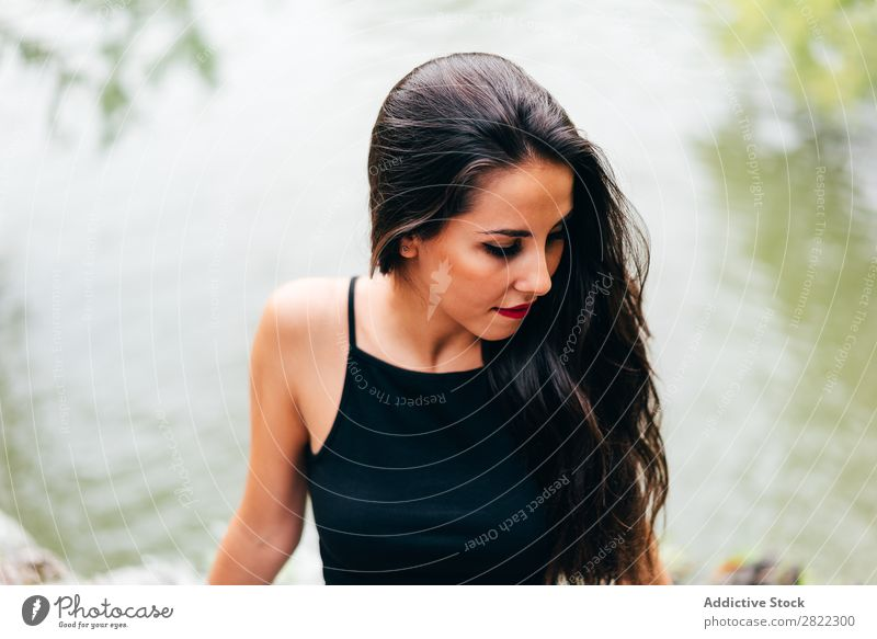 Brunette woman leaning on handrail at river Woman Youth (Young adults) Beautiful Attractive Human being Beauty Photography