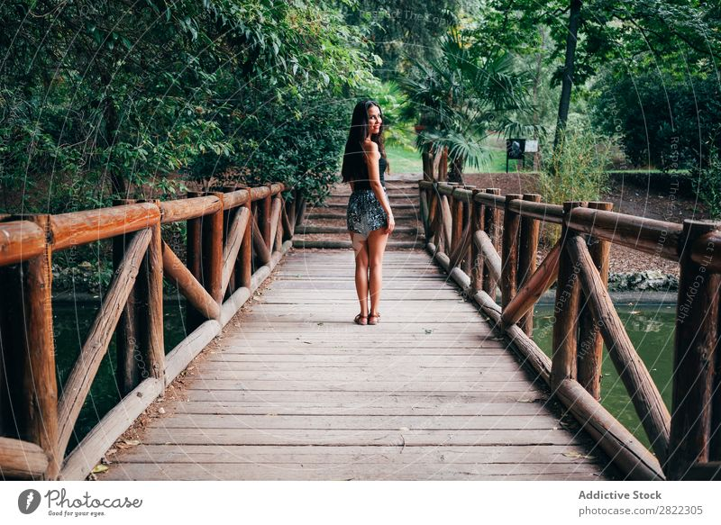 Young woman on wooden bridge Woman pretty Youth (Young adults) Beautiful Bridge Wood Stand Cheerful Smiling Brunette Attractive Human being Beauty Photography