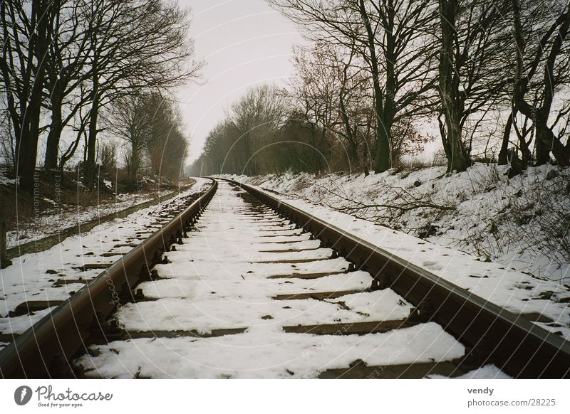 Snow on rail :) Railroad tracks Tunnel vision Infinity Transport Far-off places