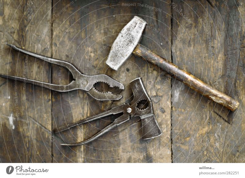 Old Wood Metal Brown Craft (trade) Tool Workplace Former Hammer Pair of pliers Combination pliers