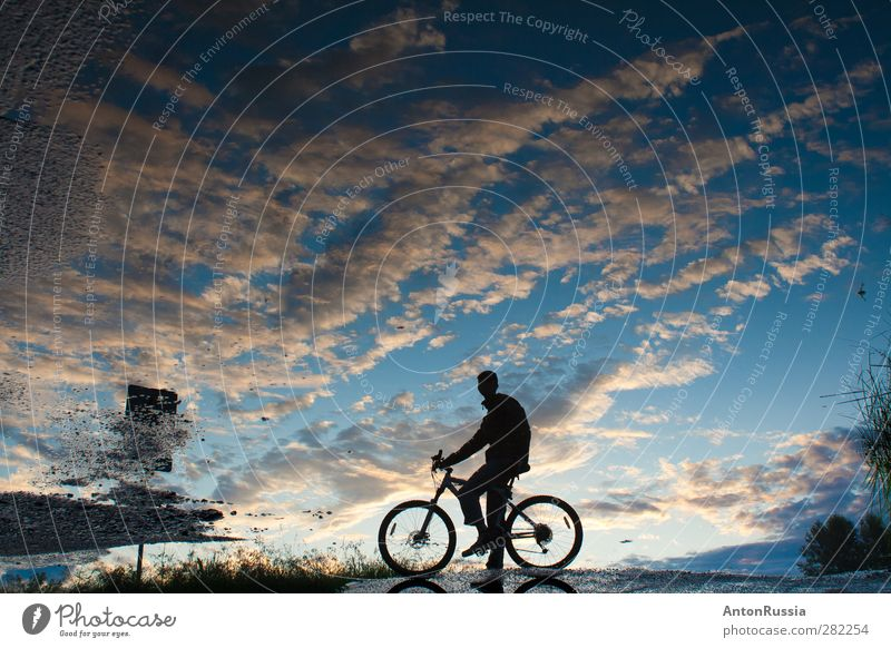 Reflection sky Stands Cycling Bicycle Human being Masculine Young man Youth (Young adults) Man Adults 18 - 30 years Environment Nature Landscape Sky