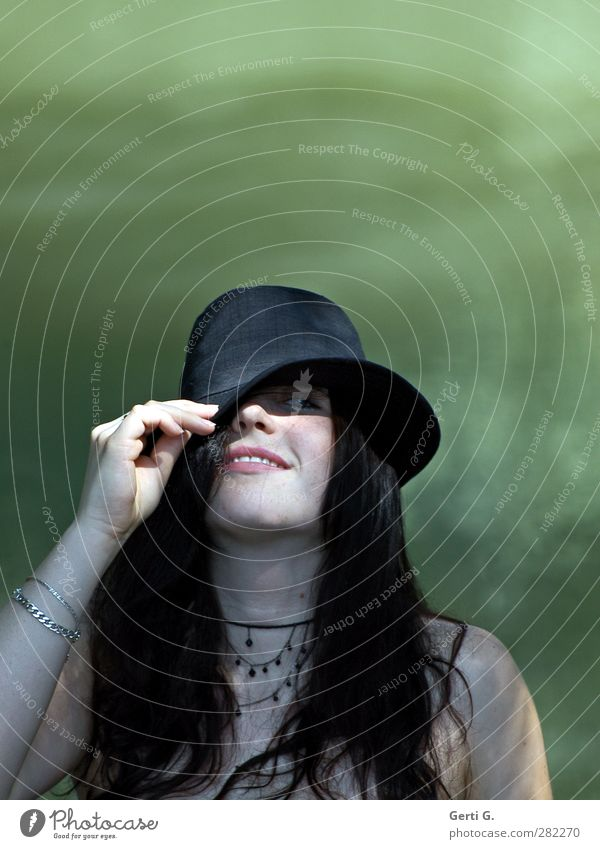 Woman Youth (Young adults) Water Green Beautiful Hand Black Adults Face Feminine Young woman Lake 18 - 30 years Smiling Friendliness Hat