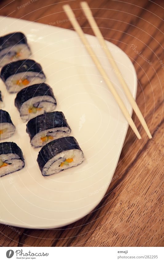 vegetarian sushi Fish Nutrition Lunch Finger food Sushi Plate Delicious Natural Japanese Colour photo Interior shot Close-up Deserted Day Shallow depth of field