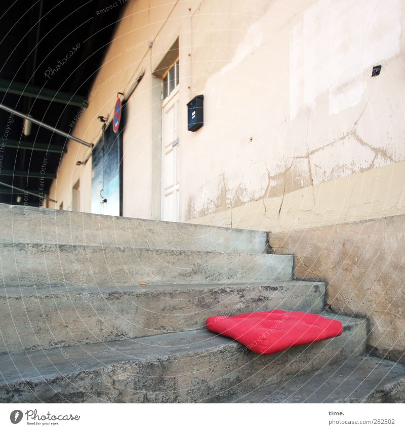 Seating | Shadow warmer Depot Stairs Facade Door Roof Mailbox seat cushion Cushion Stone Concrete Plastic Old Historic Red Loneliness Thrifty Decline Change