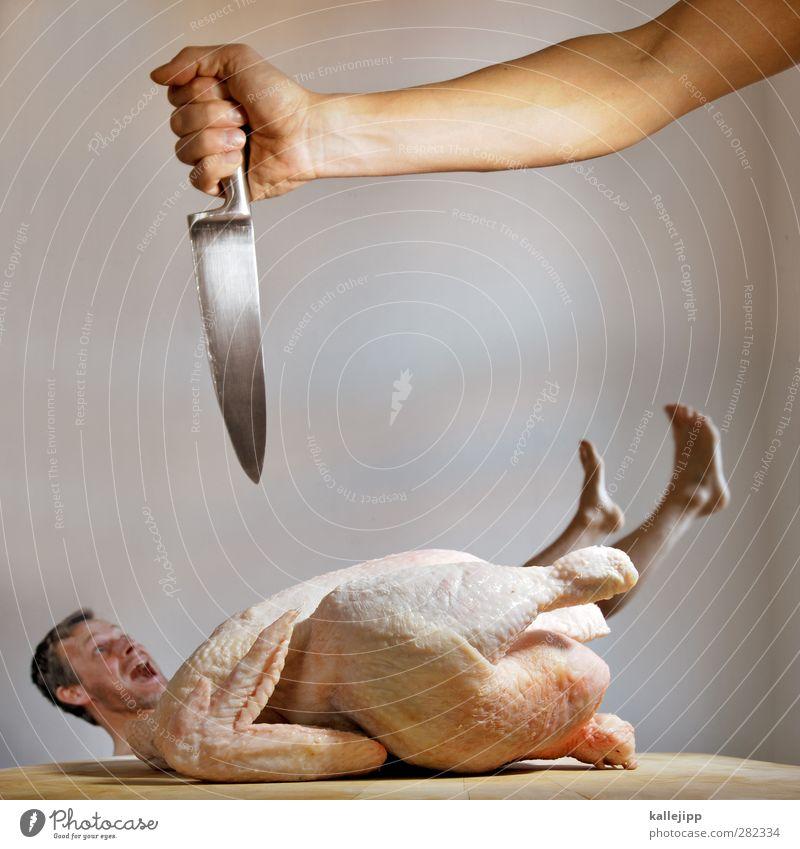 Human being Joy Animal Death Bird Body Skin Food Masculine Cooking & Baking Meat Knives Barn fowl Carnival costume Cook Farm animal
