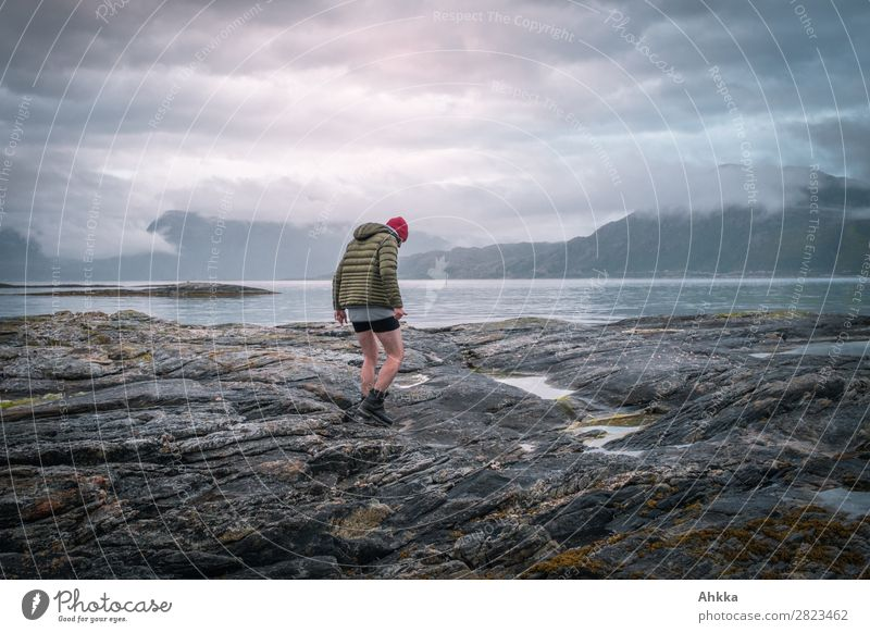 Melancholically tuned walker on the North Sea coast Sky Clouds Night sky Bad weather Mountain Coast Fjord Norway Walking Moody Unwavering Sadness Concern Grief