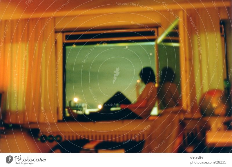 SUMMER 2001 II Window Vantage point Calm Relaxation Clouds Room Drape Globe Loneliness Man Sky Smoking Blue Orange Freedom lasciviousness