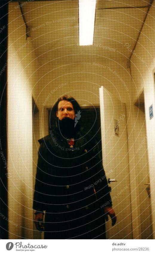 Man Black Dark Door Gloomy Threat Evil Hallway Neon light Musician Wrap up warm Glass door