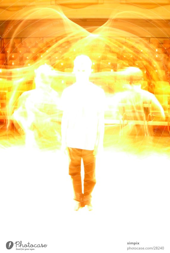 colleague Long exposure Overexposure Physics Jump Human being Bright Warmth circle