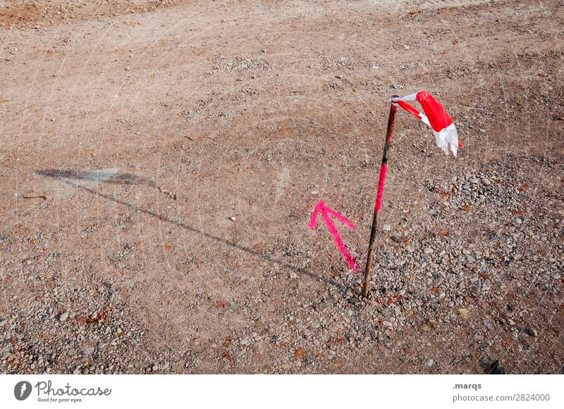 direction Construction site Earth Sign Arrow Barrier Signs and labeling Brown Pink Red White Advice Discover Direction Decide Orientation Planning Colour photo