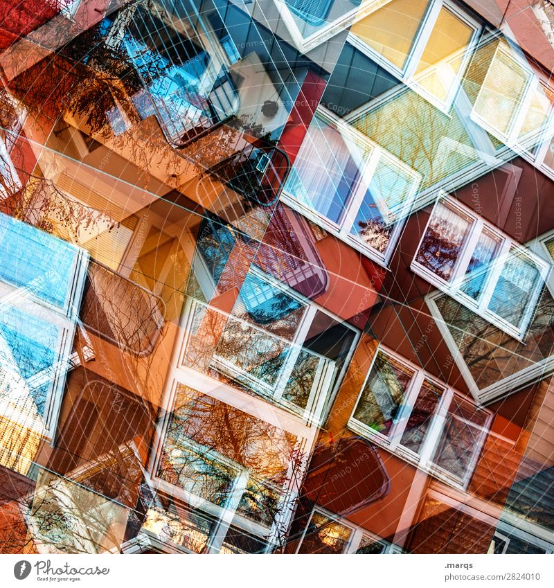 Windows 2019 Lifestyle Style Design Facade Line Exceptional Cool (slang) Hip & trendy Uniqueness Modern Chaos Colour Perspective Irritation Double exposure