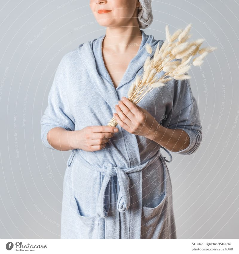 Young woman after shower Lifestyle Beautiful Body Skin Health care Spa Human being Woman Adults Arm Hand Nature Flower Grass Bouquet Natural Clean Wild Soft