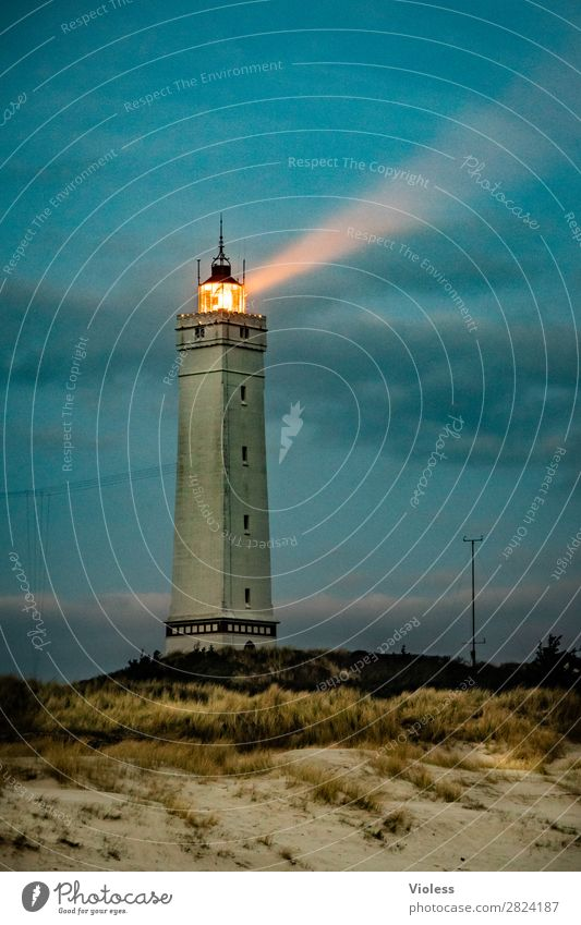 blavandshuk fyr lighthouse III Lighthouse Blavands Huk Blavands Fyr Denmark Dune Beach dune Marram grass Jutland North Sea Sunset Twilight Dark Cone of light