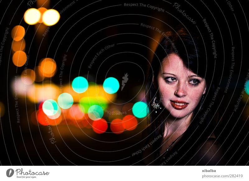 At Night Girl Woman Elegant bokeh Lips variegated Street
