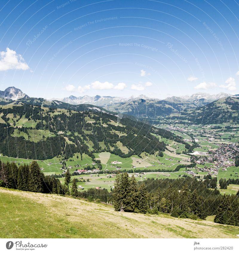 Gstaad Tourism Trip Summer Mountain Hiking Nature Landscape Clouds Autumn Beautiful weather Field Forest Alps Peak Village Esthetic Hill Mountain range
