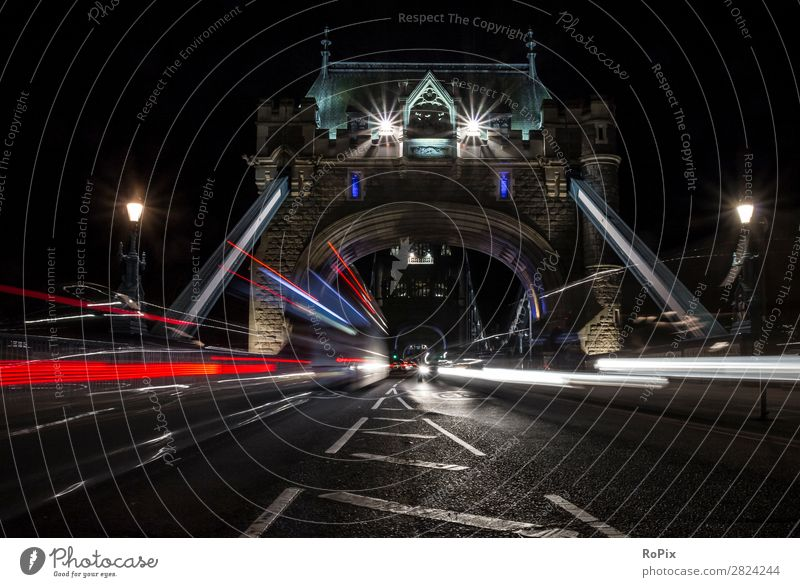 Tower Bridge at night Vacation & Travel Tourism Sightseeing City trip Night life Trade Logistics Architecture Environment Nature London England Great Britain