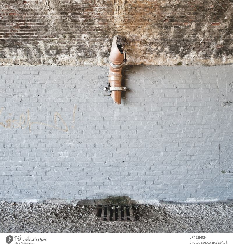 House (Residential Structure) Wall (building) Wall (barrier) Facade Bridge Broken Direction Trashy Hang Conduit Gully Free space Trend-setting Drainpipe