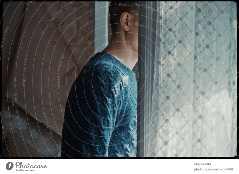 The neighbour's behind the curtains all the time. Human being Masculine Young man Youth (Young adults) Adults Head Ear Beginning Stress Expectation Hope