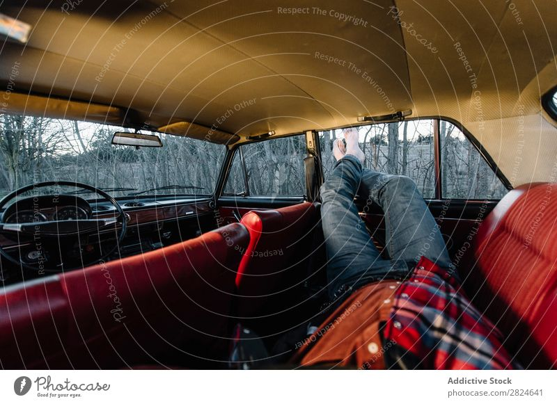 Man sleeping in vintage car Car Vintage Retro Sleep Lie (Untruth) Rest Relaxation Legs Hat White Vehicle Classic Old Adults Vacation & Travel Human being