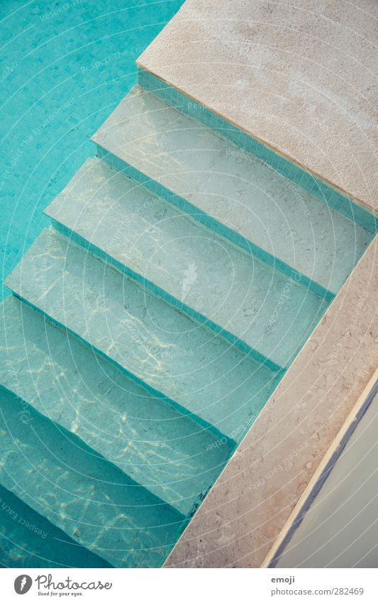 cooling down Leisure and hobbies Vacation & Travel Summer Summer vacation Water Stairs Concrete Wet Blue Colour photo Exterior shot Deserted Day Bird's-eye view