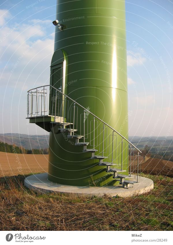 The stairs Wind energy plant Entrance Field Architecture Energy industry Nature Stairs Iron-pipe Column